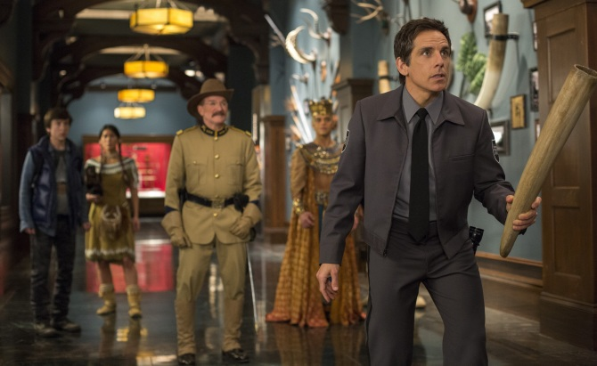 Robin Williams (left) in his final act as Theodore Roosevelt alongside Ben Stiller (right) as protagonist Larry Daley